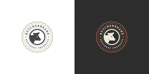Zestaw logo butchershop lub restauracji