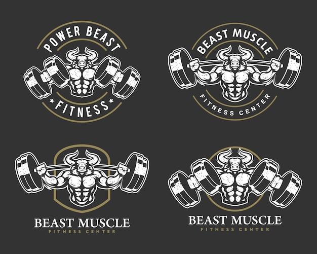 Zestaw logo byka z silnym ciałem, klubem fitness lub siłownią.