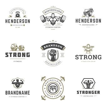 Zestaw logo centrum fitness i siłowni sportowej
