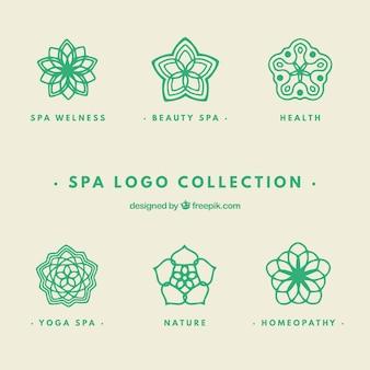 Zestaw logo centrum spa w stylu płaski