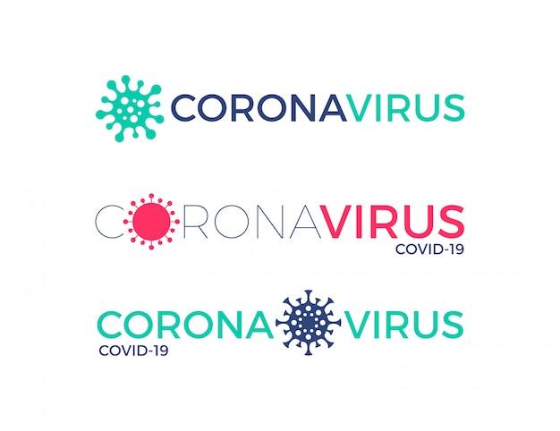 Zestaw logo coronavirus z symbolem wirusa. nagłówek koronawirusa. projekt typografii covid-19.