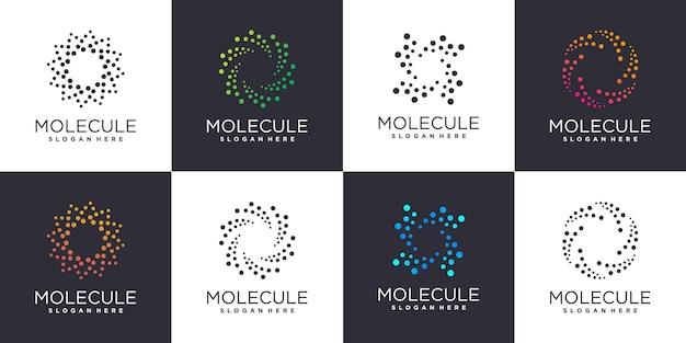 Zestaw logo cząsteczki z kreatywnym stylem elementu premium wektor