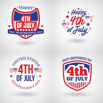 Zestaw logo czwartego lipca w stanach zjednoczonych
