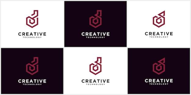 Zestaw logo d początek monogramu negatywnej przestrzeni twórcze i minimalistyczne litery, d ikony projektowania logo edytowalne w formacie