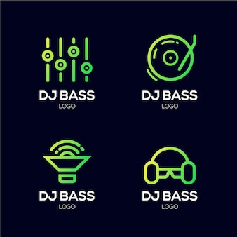 Zestaw logo dj w kolorze gradientu