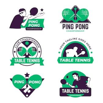 Zestaw logo do tenisa stołowego