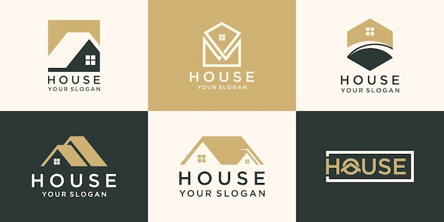 Zestaw logo domu, kolekcja creative home logo.