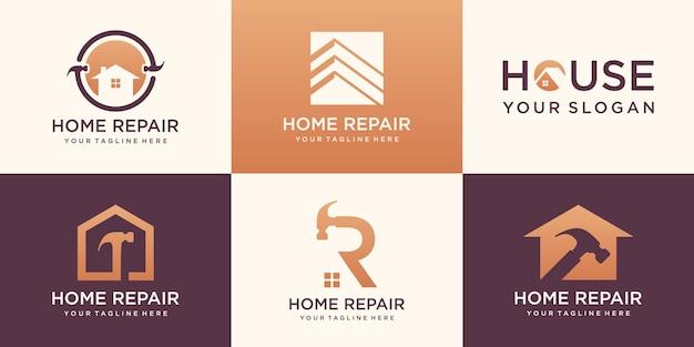 Zestaw logo domu, kolekcja kreatywnych logo naprawy domu połączony element młotka, abstrakcyjne budynki.
