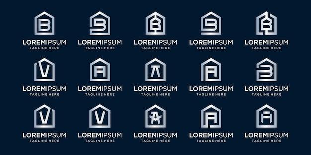 Zestaw logo domu w połączeniu z literą a, b, v, wzory szablon