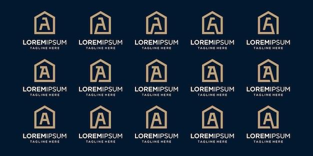 Zestaw logo domu w połączeniu z literą a, projektuje szablon.