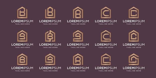 Zestaw logo domu w połączeniu z literą b, c, wzory szablonów.