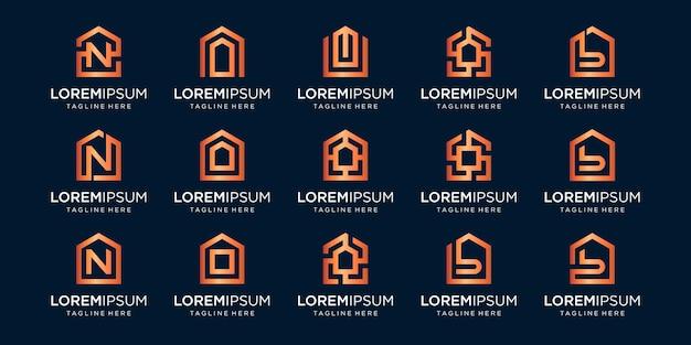 Zestaw logo domu w połączeniu z literą n, o, b, wzory szablonów.