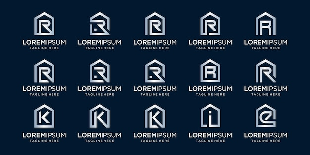 Zestaw logo domu w połączeniu z literą r, k, i, e, projektuje szablon.