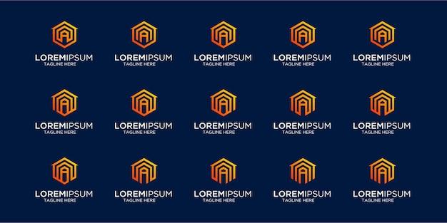 Zestaw logo domu w połączeniu z szablonem listu do projektowania