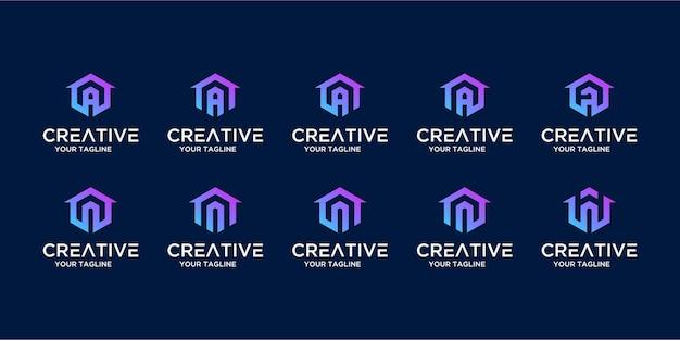 Zestaw logo domu w połączeniu z szablonem listu i projektu