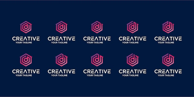 Zestaw logo domu w połączeniu z szablonem litery d