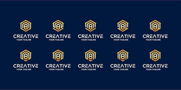 Zestaw logo domu w połączeniu z szablonem projektu litery b