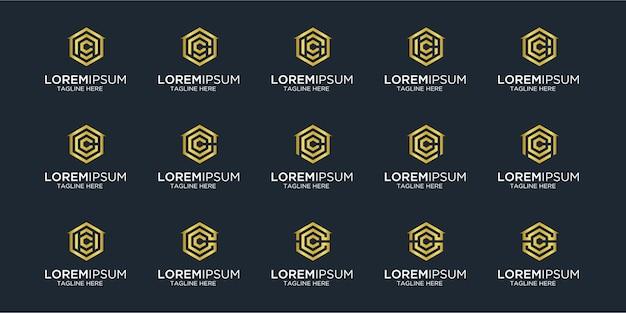 Zestaw logo domu w połączeniu z szablonem wzorów na literę c