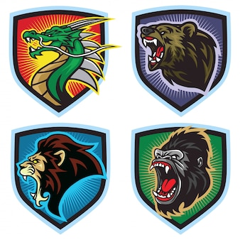 Zestaw logo dzikich zwierząt. smok, lew, niedźwiedź, goryl, maskotka esports,