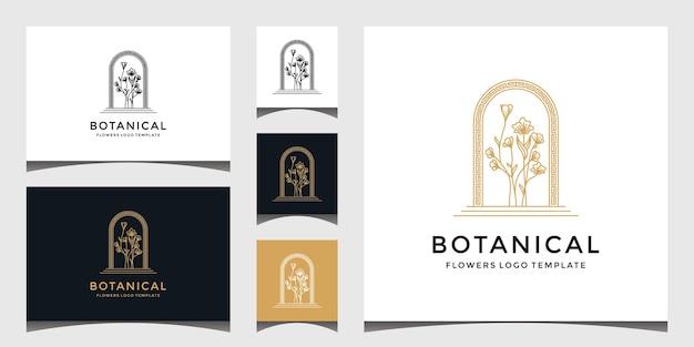 Zestaw logo elegancki kwiat botaniczny