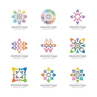 Zestaw logo elementu