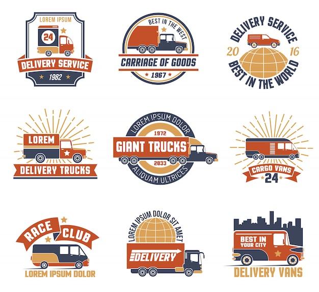 Zestaw logo emblemat dostawy