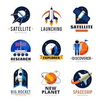 Zestaw logo emblemat kosmiczny