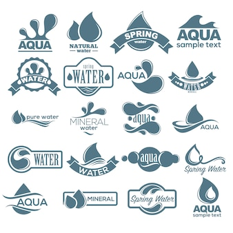 Zestaw logo. etykieta na wodę mineralną. kolekcja ikon aqua. wektor