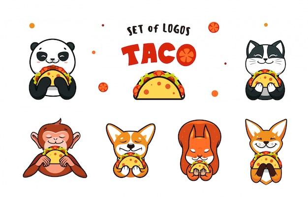 Zestaw logo fast food. logotypy zwierząt jedzących taco