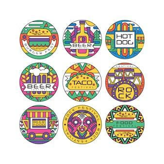 Zestaw logo festiwalu żywności, burger fest, festiwal piwa, hot dog, tako festival, rock rock i muzyka okrągłe etykiety lub naklejki ilustracje