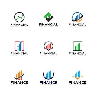 Zestaw logo finanse i ikona ilustracja wektorowa