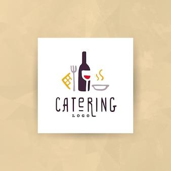 Zestaw logo firmy cateringowej i restauracji na białym tle.