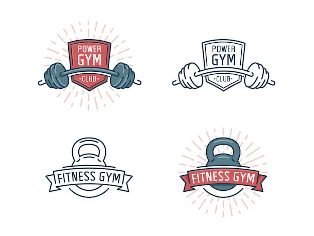 Zestaw logo fitness. klub siłowni, emblemat sport ze sztangą.