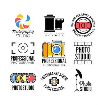 Zestaw logo fotografii i studia fotograficznego.