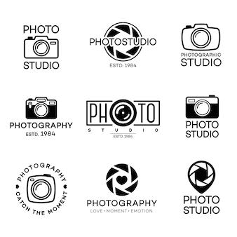 Zestaw logo fotografii i studio fotograficzne z aparatem
