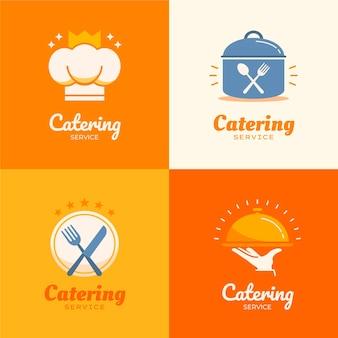Zestaw logo gastronomicznych o płaskiej konstrukcji