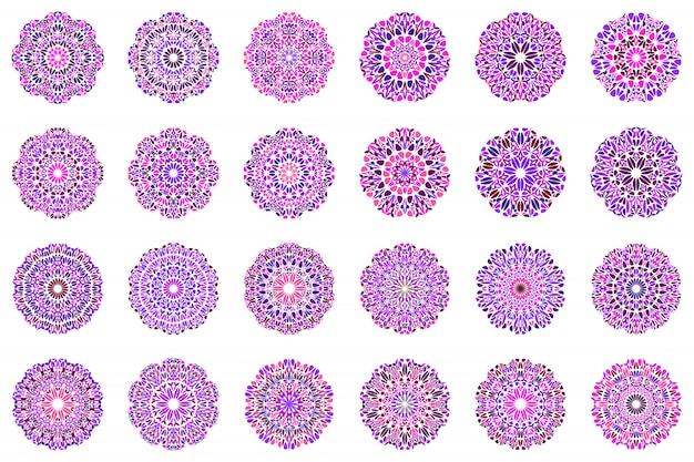 Zestaw logo geometryczne streszczenie kwiatowy mandali