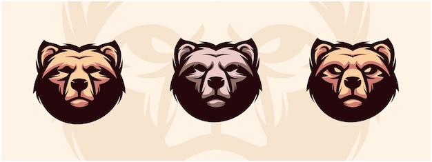 Zestaw logo głowy niedźwiedzia.