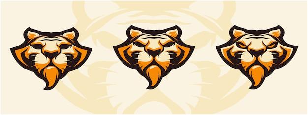 Zestaw logo głowy tygrysa.