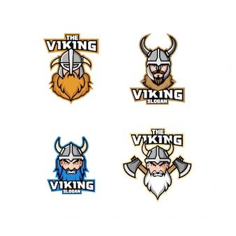 Zestaw logo głowy wikingów