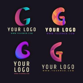 Zestaw logo gradientu litery g