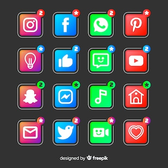 Zestaw logo gradientu mediów społecznościowych