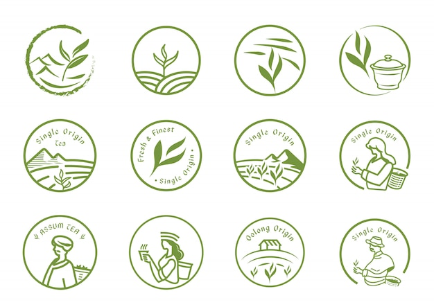 Zestaw logo herbaty jednego pochodzenia