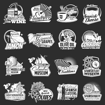 Zestaw logo hiszpańskich podróży