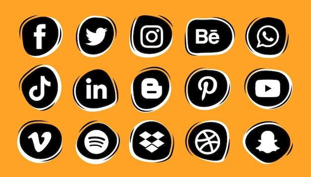 Zestaw logo i ikon mediów społecznościowych