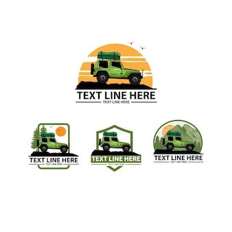 Zestaw logo ilustracji samochodu przygodowego