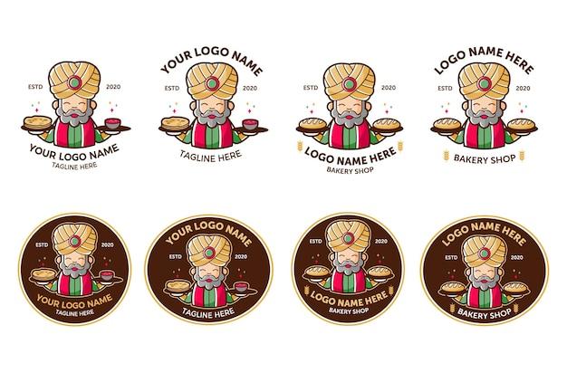 Zestaw logo indyjskiej żywności i piekarni