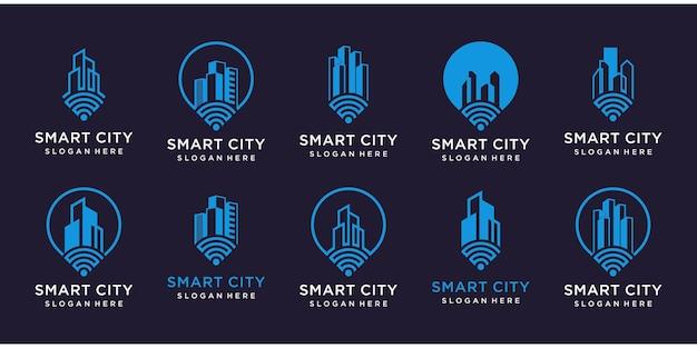 Zestaw logo inteligentnego domu.