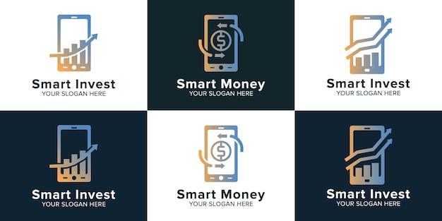 Zestaw logo inwestowania pieniędzy w inteligentny telefon