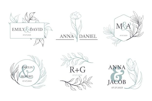 Zestaw logo kaligraficznego monogram ślubu